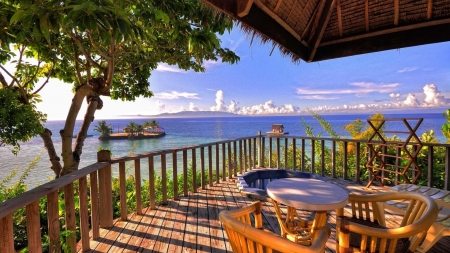 Fabulous ocean view from balcony hdr oceans nature for Balcony view wallpaper