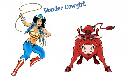 Wonder Cowgirl - bulls, cartoons, female, models, hats, boots, fun, women, rodeo, cowgirls, girls, western, style