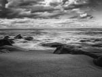 ocean waves on the beach in monochrome hdr
