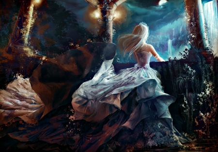 Moonlight - art, dress, luna, luminos, blonde, woman, terrace, jenny lehmann, fantasy, moon, girl, princess, blue, night