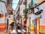side street in Ibiza on a rainy day
