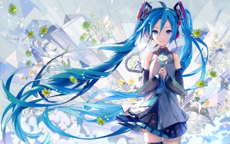 Hatsune Miku - dress, beautiful, woman, sweet, anime, flowers, anime girl, long hair, blue, art, female, lovely, twintails, cute, girl, blue hair, lady, white