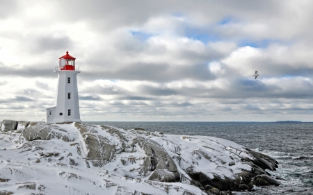 peggys lighthouse in nova scotia in winter - point, rocky, lighthouse, sea, winter