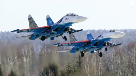Two Russian Sukhoi Su27 Fighter Jets - military, aircraft, su27, sukhoi