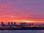 pink sunset over george washington bridge