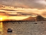 mount vesuvius over naples harbor at sunrise hdr