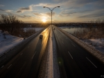 pie IX highway bridge in montreal at sunrise