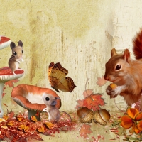Fall Squirrel and Mice