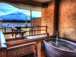view of mt fuji from kawaguchico onsen hot spring resort hdr