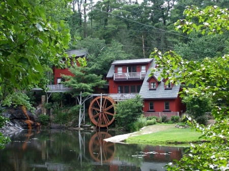 Beautiful Red Watermill - architecture, red, mill, houses, beautiful, trees, water, watermill, green