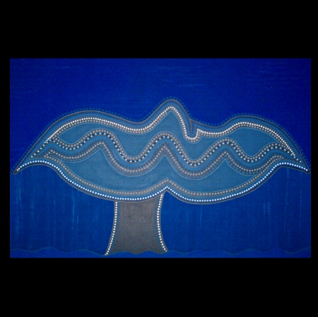 Whale tales of the Tasman sea. - whale, sea, blue, aboriginal art