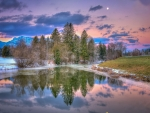 superb nature landscape on a wintry evening hdr