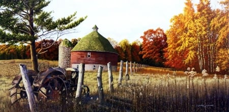Forgotten Times - fence, fall, autumn, silo, colors, trees, artwork, painting, field