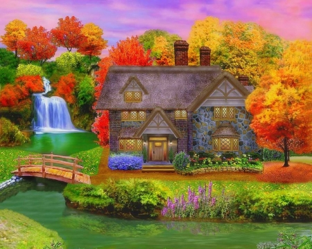 England Country Autumn - fall season, cottages, autumn, houses, bridges, colors, love four seasons, attractions in dreams, trees, waterfalls, streams