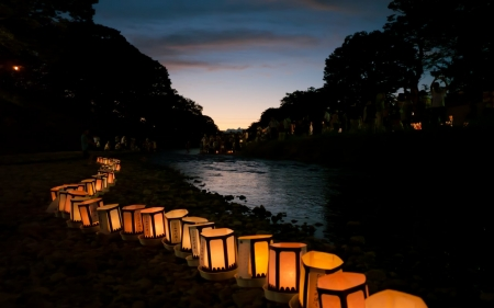 Japanese Lantern - festival, lanterns, japanese, japan, oriental, matsuri, nature, river, scenery, night