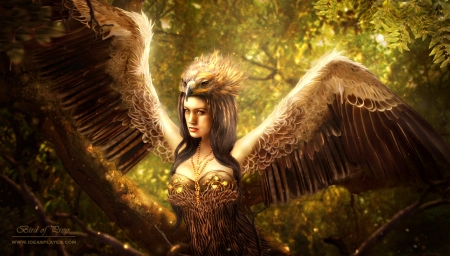 Bird of prey - art, wings, bird of prey, luminos, woman, ideasplayer, fantasy, girl, green, feather