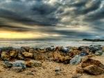 beautiful rocky beach hdr