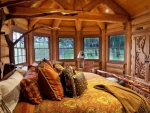 bedroom in a rustic cabin
