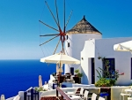 santorini windmill with ocean view