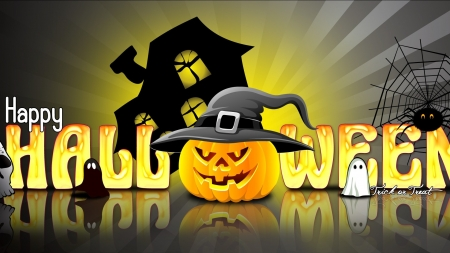 Happy halloween - house, happy halloween, trick or treat, jack o lantern, spider, witches hat, spider web, hat, ghosts, rays, web, pumpkin, Halloween, reflection, skull