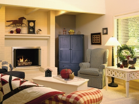 Blue cabinet - roomy, fireplace, white, colourful