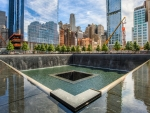 9/11 memorial fountain in downtown manhatten hdr