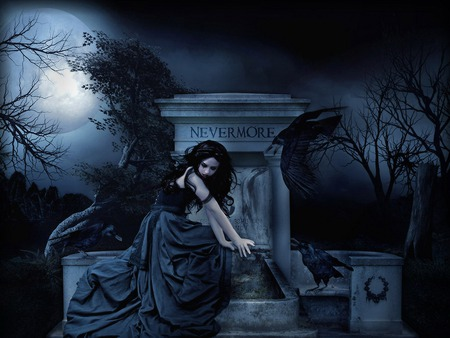 NEVERMORE - halloween, tree, skirt, dark, gothic, dress, quote, woman, alone, the, night, tomb, nevermore, raven, scary, grave, beauty, beautiful, girl, clouds, graveyard, pretty