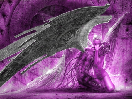 Fallen Passionate Love in Purple - wings, purple, passion, angels, fallen, love, luis royo, winged