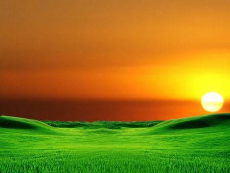 Orange And Green Landscape Sunsets Nature Background