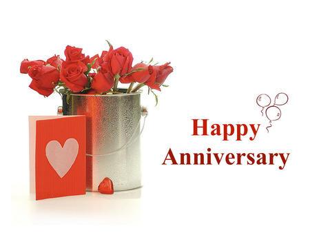Happy anniversary - flowers, red, card, happy anniversary
