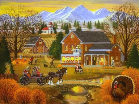 Nostalgic November - stream, fall season, autumn, holiday, houses, bridges, love four seasons, November, farms, attractions in dreams, thanksgiving, paintings, wagon, turkey