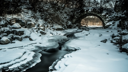 stone bridge over stream in winter hdr - forest, stream, stones, arch, bridge, hdr, winter