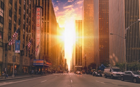Manhattanhenge - architecture, skycrapers, New York city, sunset, manhattan