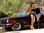 Cowgirls with a Classic Mustang