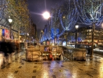 subway entrance in paris during christmas hdr
