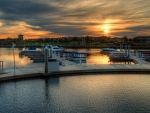 sunset over harbor marina hdr