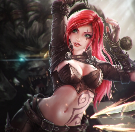 Katarina - pretty, videogames, tattos, scar, beautiful, woman, League of Legends, anime, beauty, long hair, top, female, black, red hair, sexy, girl, lady