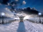 pier in swanage england under snow