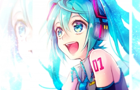 Wow!!! - vocaloid, ponytails, hatsune miku, anime, blue eyes