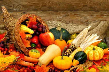 Autumn Cornucopia - apple, corn, Fall, burlap, fruits, gourds, grapes, still life, leaves, berries, pepper, vegetables, Autumn, wood, pumpkins