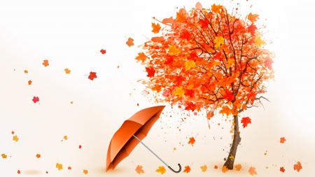 Forces of Fall - fall, autumn, tree, leaves, wind, umbrella, blowing, Firefox Persona theme