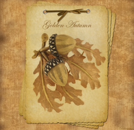 *Golden Autumn* - fall, text, autumn, acorns, golden, paper, seasons, old