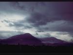 Moody mountain evening sky.