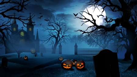 Halloween Cemetery - fence, bats, jack o lanterns, cemetery, tombstones, church, trees, spider, clouds, fog, moon, full moon, crosses, graveyard, Halloween, pumpkins