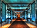 hallway to entrance to skylofts at mgm grand in vegas hdr