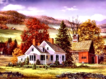 Farmhouse In Autumn Other Abstract Background Wallpapers On Desktop Nexus Image 2033766