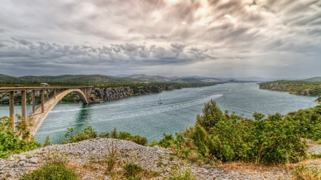 beautiful bridge over a river landscape hdr - boats, arch, bridge, river, hdr