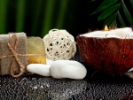 Spa - soap, candle, coconut