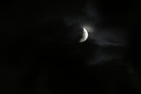 Moon and clouds - moon, clouds, magic, space