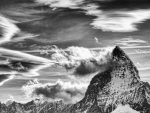 the matterhorn in grayscale hdr